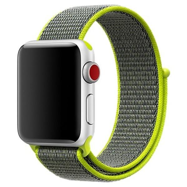 Curea pentru Apple Watch 38 mm iUni Woven Strap, Nylon Sport, Grey-Electric Green