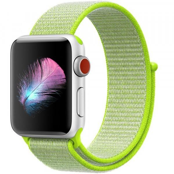 Curea pentru Apple Watch 38 mm iUni Woven Strap, Nylon Sport, Electric Green