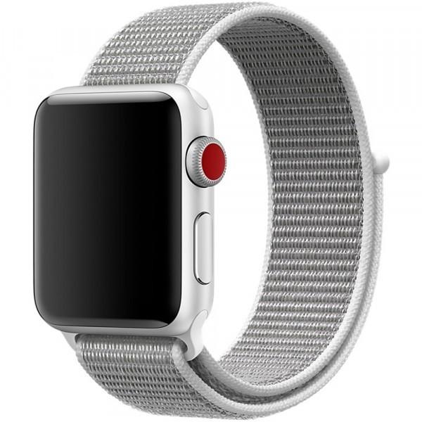 Curea pentru Apple Watch 42 mm iUni Woven Strap, Nylon Sport, White Gray