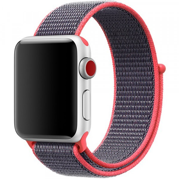 Curea pentru Apple Watch 42 mm iUni Woven Strap, Nylon Sport, Purple-Electric Pink
