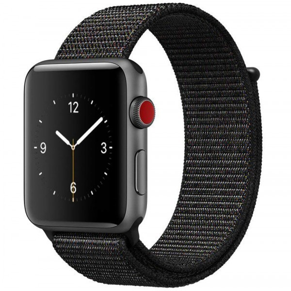 Curea pentru Apple Watch 38 mm iUni Woven Strap, Nylon Sport, Dark Black