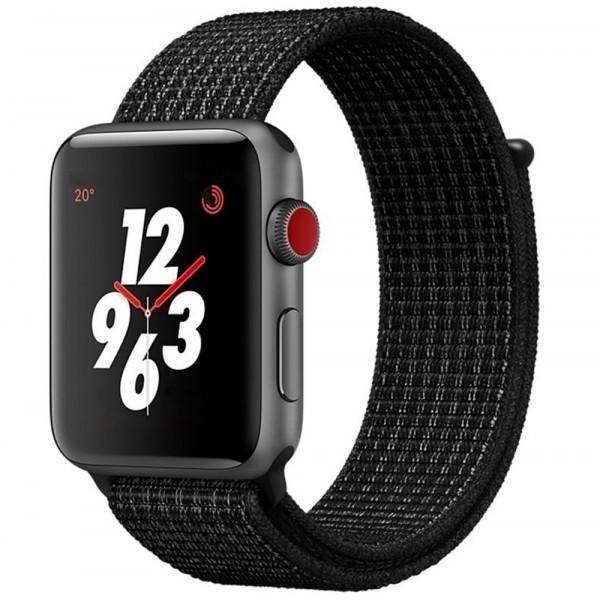 Curea pentru Apple Watch 42 mm iUni Woven Strap, Nylon Sport, Midnight Black