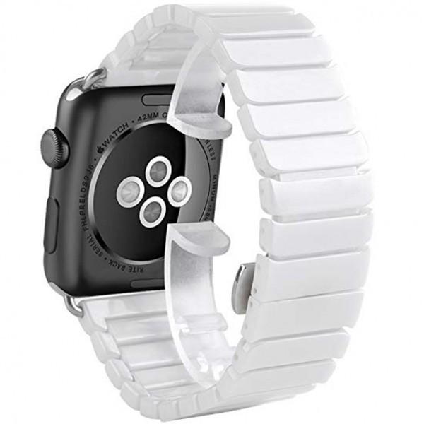 Curea pentru Apple Watch 38 mm iUni Ceramic Belt, White