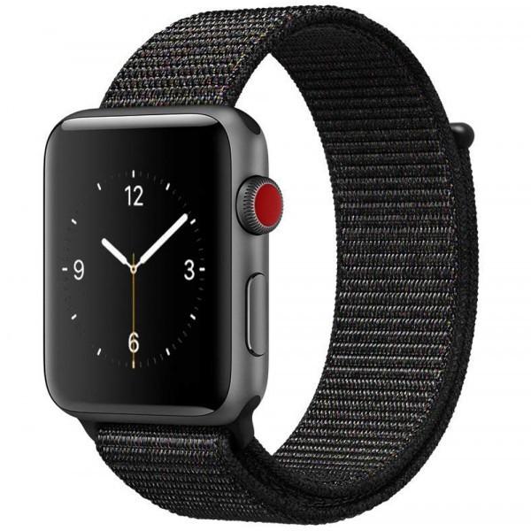 Curea pentru Apple Watch 42 mm iUni Woven Strap, Nylon Sport, Dark Black