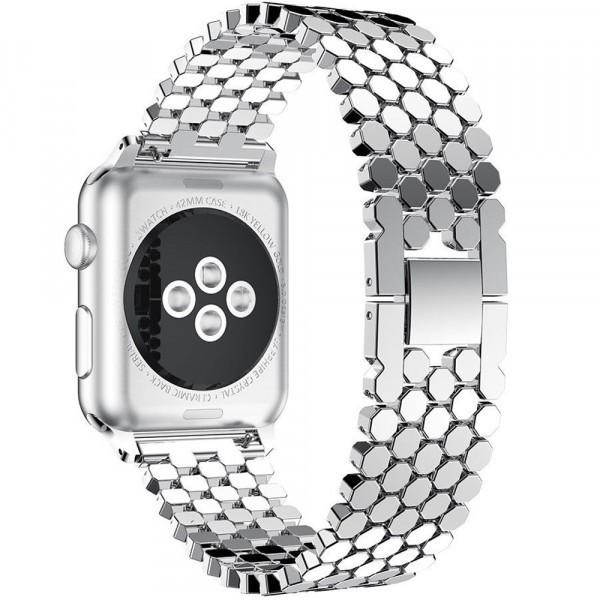 Curea pentru Apple Watch Silver Jewelry iUni 42 mm Otel Inoxidabil