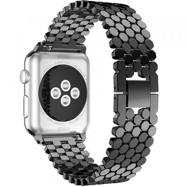 Curea pentru Apple Watch Black Jewelry iUni 42 mm Otel Inoxidabil