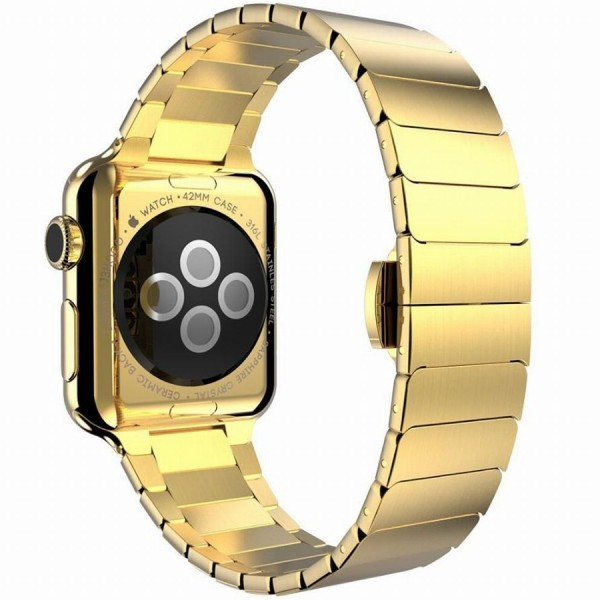 Curea pentru Apple Watch 38mm Otel Inoxidabil iUni Gold Link Bracelet imagine techstar.ro 2021