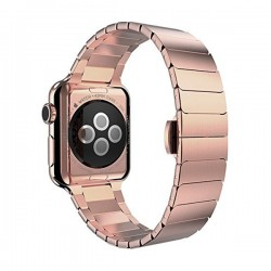 Curea pentru Apple Watch 38mm Otel Inoxidabil iUni Rose Gold Link Bracelet