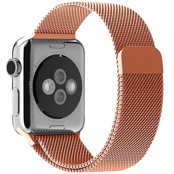 Curea pentru Apple Watch Rose Gold Milanese Loop iUni 42 mm Otel Inoxidabil