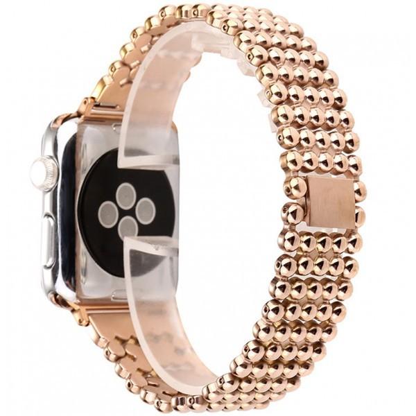 Curea pentru Apple Watch Rose Gold Luxury iUni 42 mm Otel Inoxidabil