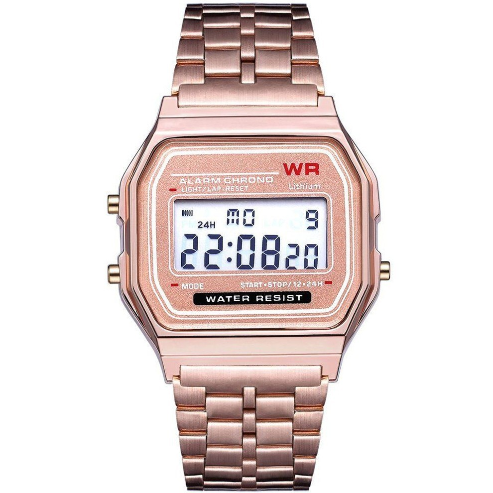Ceas Electronic Digital Retro iUni WR1, Curea Metalica, Rose Gold imagine techstar.ro 2021