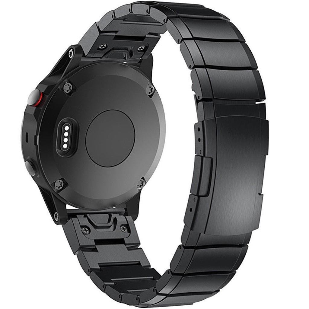 Curea ceas Smartwatch Garmin Fenix 3 / Fenix 5X, 26 mm Otel inoxidabil iUni Black Link Bracelet imagine techstar.ro 2021