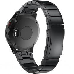 Curea ceas Smartwatch Garmin Fenix 5, 22 mm Otel inoxidabil iUni Black Link Bracelet