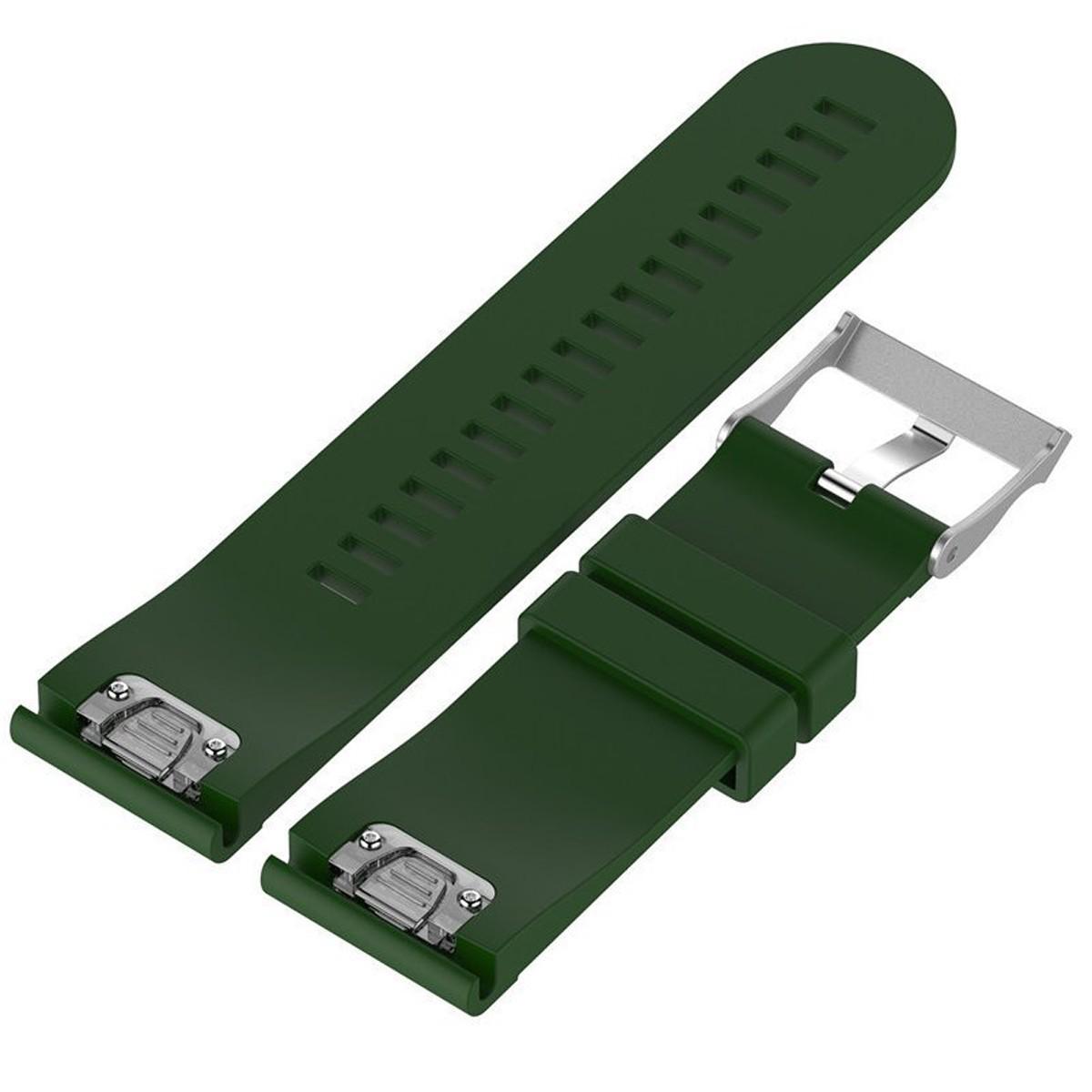Curea ceas Smartwatch Garmin Fenix 5, 22 mm Silicon iUni Green