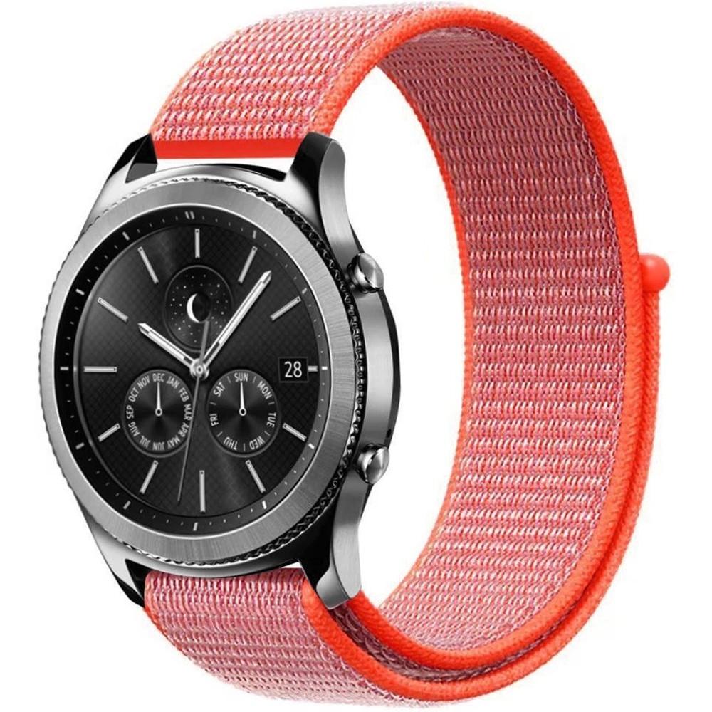 Curea ceas Smartwatch Garmin Fenix 5, 22 mm iUni Soft Nylon Sport, Electric Orange
