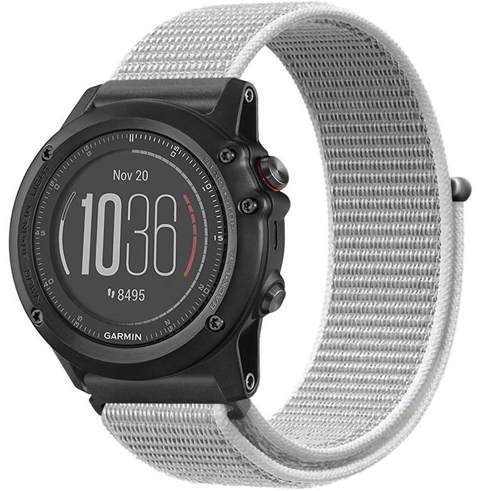 Curea ceas Smartwatch Garmin Fenix 5, 22 mm iUni Soft Nylon Sport, White Gray