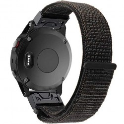 Curea ceas Smartwatch Garmin Fenix 5, 22 mm iUni Soft Nylon Sport, Black