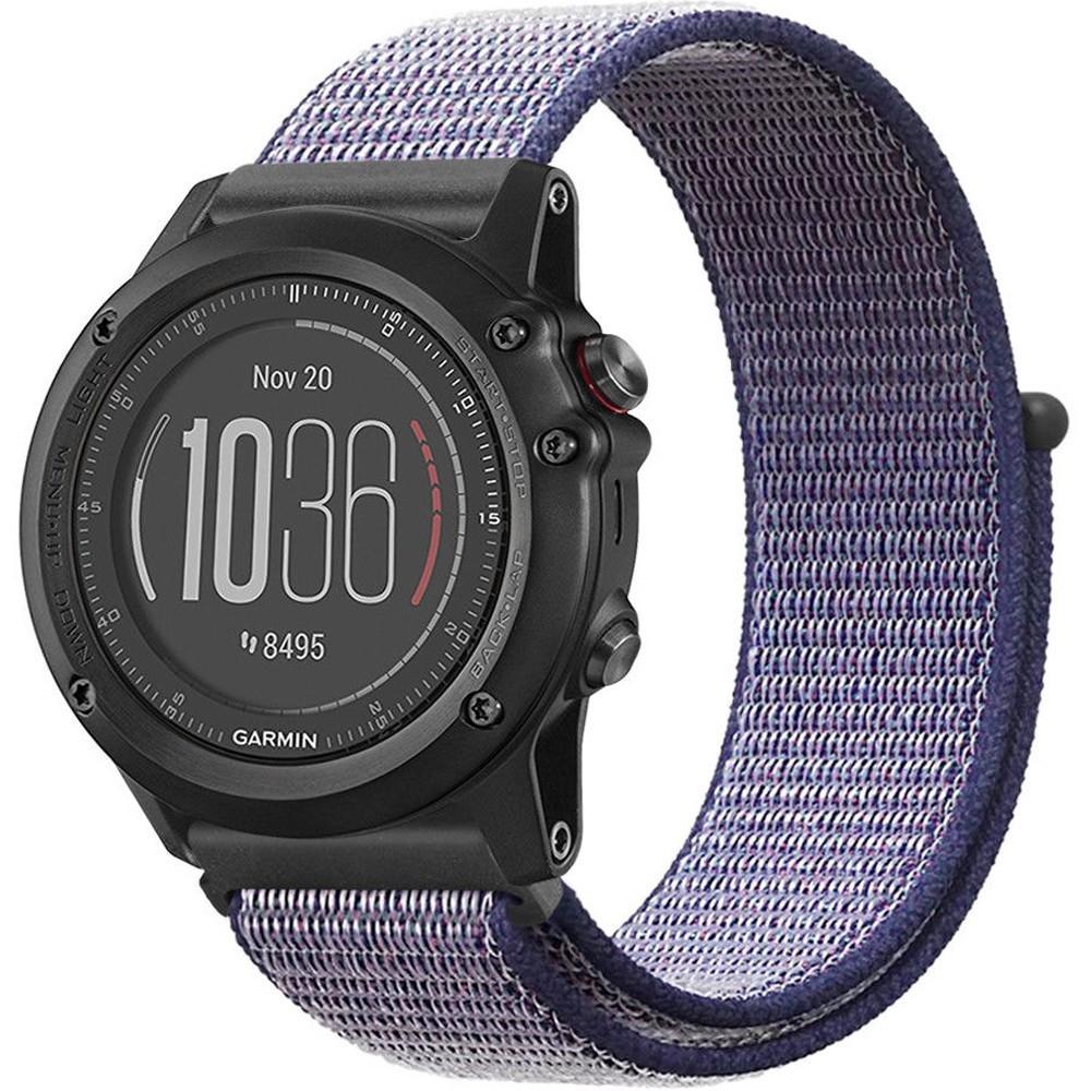 Curea ceas Smartwatch Garmin Fenix 5, 22 mm iUni Soft Nylon Sport, Midnight Blue