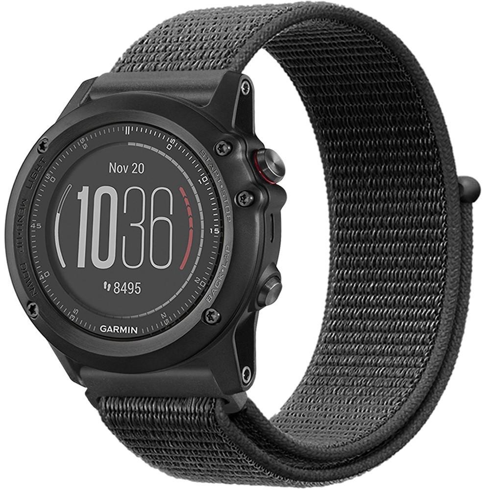 Curea Ceas Smartwatch Garmin Fenix 5, 22 Mm Iuni Soft Nylon Sport, Midnight Gray
