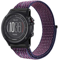 Curea ceas Smartwatch Garmin Fenix 3 / Fenix 5X, 26 mm iUni Soft Nylon Sport, Midnight Purple