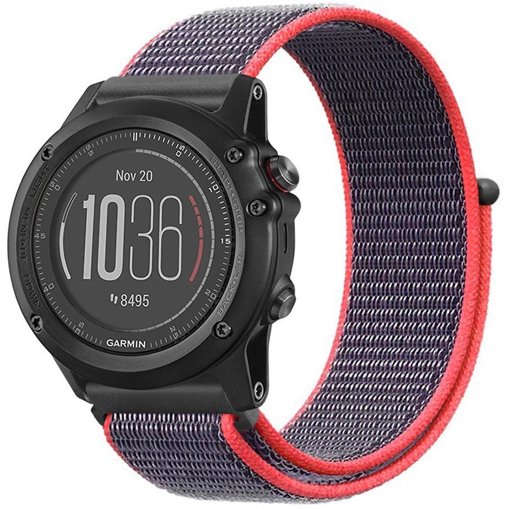 Curea Ceas Smartwatch Garmin Fenix 3 / Fenix 5x, 26 Mm Iuni Soft Nylon Sport, Purple-electric Pink