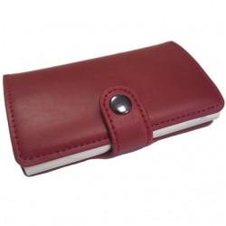 Portofel unisex, port card iUni P17, RFID, Compartiment 6 carduri, Rosu Grena
