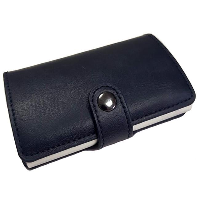 Portofel unisex, port card iUni P16, RFID, Compartiment 6 carduri, Bleumarin