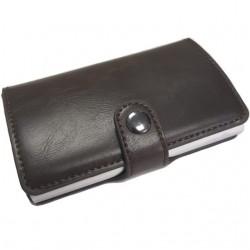 Portofel unisex, port card iUni P19, RFID, Compartiment 6 carduri, Brun inchis