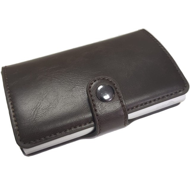 Portofel unisex, port card iUni P2, RFID, Compartiment 6 carduri, Brun inchis imagine techstar.ro 2021