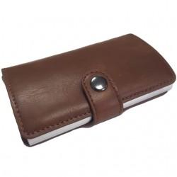 Portofel unisex, port card iUni P18, RFID, Compartiment 6 carduri, Maro inchis