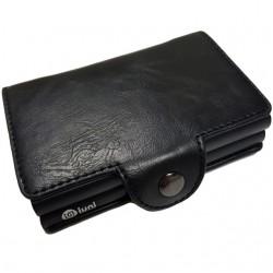 Portofel unisex, port card dublu iUni P25, RFID, 2 Compartimente 6 carduri, Negru