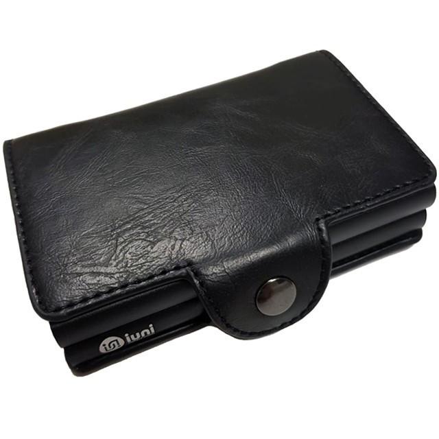 Portofel unisex, port card dublu iUni P3, RFID, 2 Compartimente 6 carduri, Negru