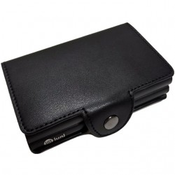 Portofel unisex, port card dublu iUni P3, RFID, 2 Compartimente 16 carduri, Negru mat