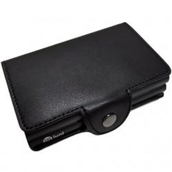 Portofel unisex, port card dublu iUni P3, RFID, 2 Compartimente 6 carduri, Negru mat