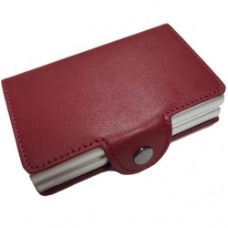 Portofel unisex, port card dublu iUni P29, RFID, 2 Compartimente 6 carduri, Rosu