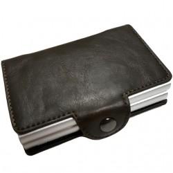Portofel unisex, port card dublu iUni P3, RFID, 2 Compartimente 16 carduri, Brun inchis