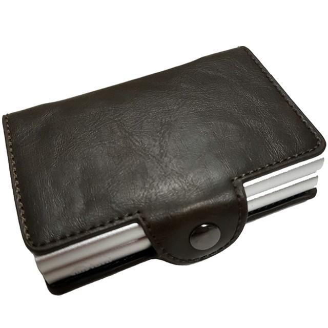 Portofel unisex, port card dublu iUni P28, RFID, 2 Compartimente 6 carduri, Brun inchis
