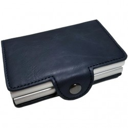 Portofel unisex, port card dublu iUni P27, RFID, 2 Compartimente 6 carduri, Bleumarin