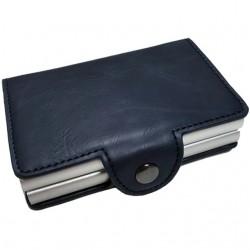 Portofel unisex, port card dublu iUni P3, RFID, 2 Compartimente 16 carduri, Bleumarin