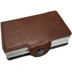 Portofel unisex, port card dublu iUni P26, RFID, 2 Compartimente 6 carduri, Maro inchis
