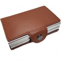 Portofel unisex, port card dublu iUni P34, RFID, 2 Compartimente 6 carduri, Maro