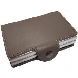 Portofel unisex, port card dublu iUni P33, RFID, 2 Compartimente 6 carduri, Bej inchis