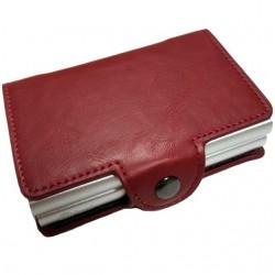 Portofel unisex, port card dublu iUni P3, RFID, 2 Compartimente 16 carduri, Rosu Grena