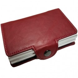 Portofel unisex, port card dublu iUni P32, RFID, 2 Compartimente 6 carduri, Rosu Grena