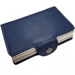 Portofel unisex, port card dublu iUni P3, RFID, 2 Compartimente 16 carduri, Albastru