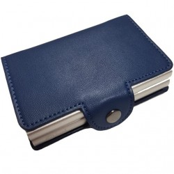 Portofel unisex, port card dublu iUni P3, RFID, 2 Compartimente 6 carduri, Albastru
