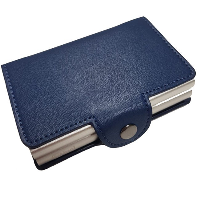 Portofel unisex, port card dublu iUni P31, RFID, 2 Compartimente 6 carduri, Albastru