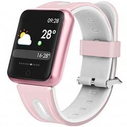 Bratara Fitness iUni P68, Display 1.3 inch IPS Color, Pedometru, Monitorizare Puls, Notificari, Roz-Alb