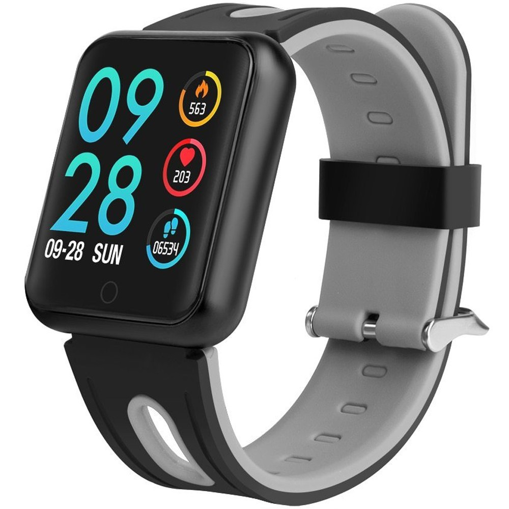 Bratara Fitness iUni P68, Display 1.3 inch IPS Color, Pedometru, Monitorizare Puls, Notificari, Negru-Gri