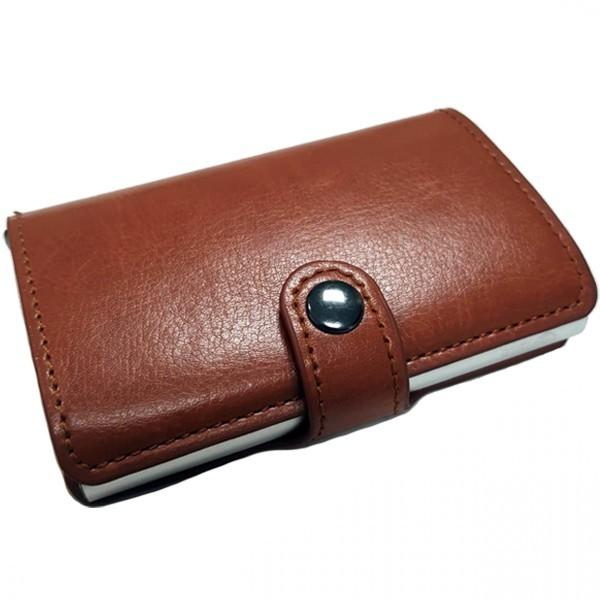 Portofel unisex, port card iUni P35, RFID, Compartiment 6 carduri, Maro ciocolatiu